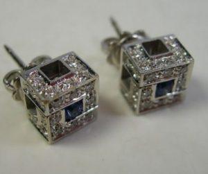 SALVINI orecchini a cubo in oro bianco, diamante per circa 0.56p