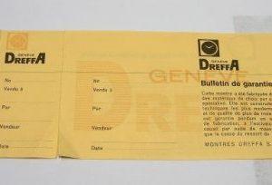 DREFFA certificato di garanzia in bianco - anni '60 - '70