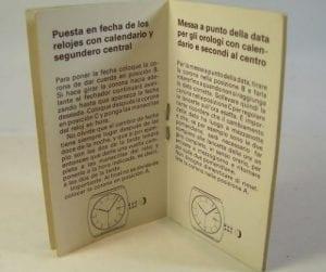 JAEGER LE COULTRE libretto istruzioni per orologi con datario e
